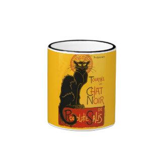 Arte Nouveau del gato negro del vintage de Le Chat Tazas De Café