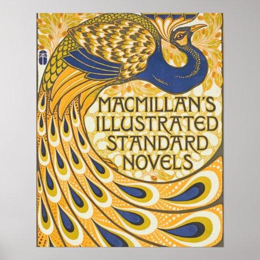 Arte Nouveau del poster del pavo real del vintage
