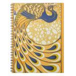 Arte Nouveau del poster del pavo real del vintage Cuaderno
