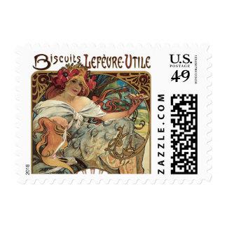 Arte Nouveau del Victorian del vintage de Alfonso Sello Postal