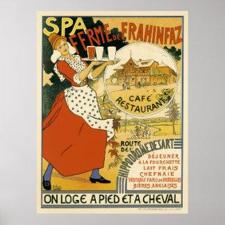 Arte Nouveau del vintage; Café y restaurante de la Impresiones