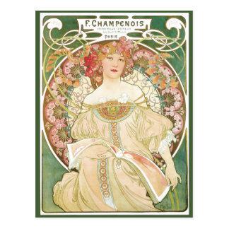 Arte Nouveau del vintage; Champenois; Alfonso Much Tarjeta Postal