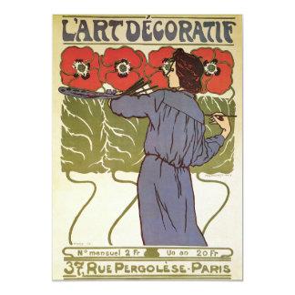 """Arte Nouveau del vintage de L'Art Decoratif Invitación 5"""" X 7"""""""
