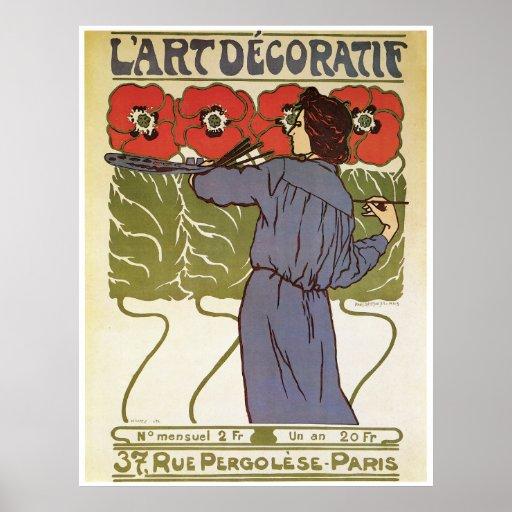 Arte Nouveau del vintage de L'Art Decoratif Impresiones