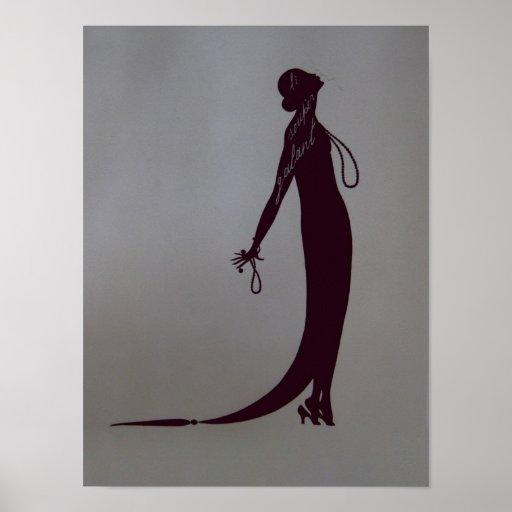 Arte Nouveau del vintage del ~ de la placa de moda Posters