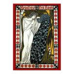Arte Nouveau del vintage; Este beso, mujer con el Invitación Personalizada