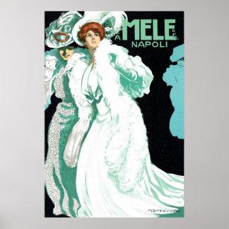Arte Nouveau del vintage, mujeres de lujo y moda Póster