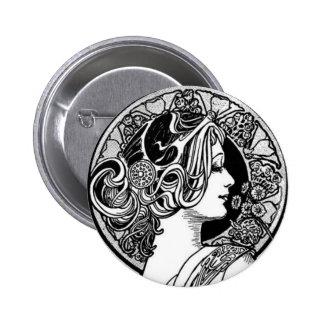 Arte Nouveau del vintage Pin Redondo 5 Cm