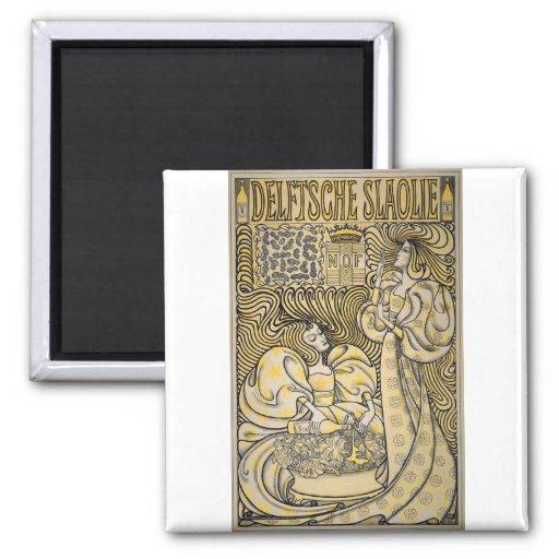 Arte Nouveau Delftsche Slaolie Delft Imán De Frigorífico