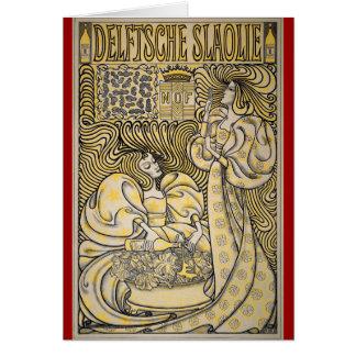 Arte Nouveau Delftsche Slaolie Delft Tarjeta De Felicitación