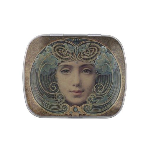 Arte Nouveau - espejo - lata del Belly de la jalea Jarrones De Caramelos