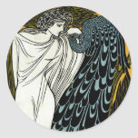 Arte Nouveau, este beso, mujer del vintage con el Pegatinas Redondas