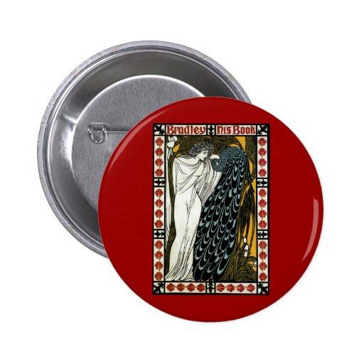 Arte Nouveau, este beso, mujer del vintage con el Pin Redondo De 2 Pulgadas