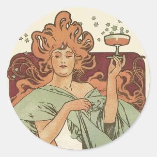 Arte Nouveau, fiesta del vintage de Champán de la Pegatina Redonda