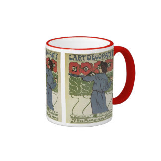 Arte Nouveau, flores del vintage de la amapola de Taza De Dos Colores