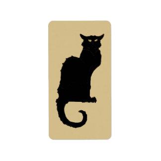 Arte Nouveau, gato negro fantasmagórico del vintag Etiquetas De Dirección