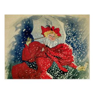 Arte Nouveau invierno del vintage de la nieve del Postales