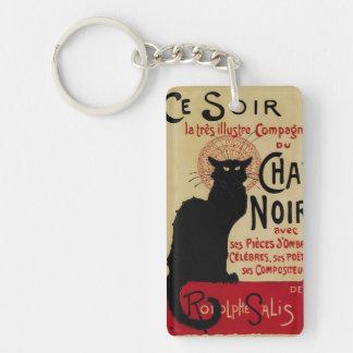 Arte Nouveau, Le Chat Noir del vintage Llavero Rectangular Acrílico A Doble Cara