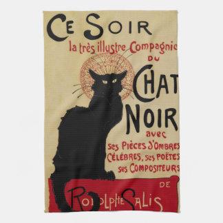 Arte Nouveau, Le Chat Noir del vintage Toallas De Mano