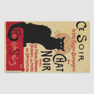 Arte Nouveau, Le Chat Noir del vintage Pegatina Rectangular