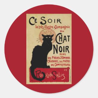 Arte Nouveau, Le Chat Noir del vintage Pegatina Redonda