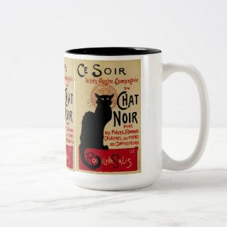 Arte Nouveau Le Chat Noir del vintage Tazas