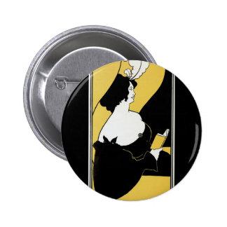 Arte Nouveau, libro amarillo, lectura del vintage  Pin