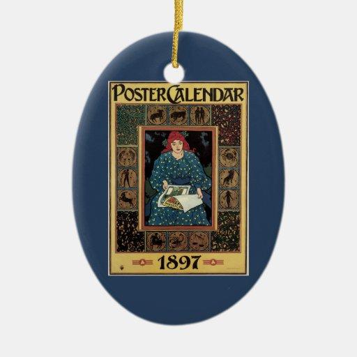 Arte Nouveau, libro del vintage de la astrología Adorno Navideño Ovalado De Cerámica