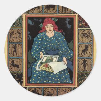Arte Nouveau, libro del vintage de la astrología Pegatina Redonda