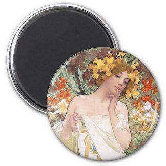 Arte Nouveau - Mucha - anuncio del perfume Imán Redondo 5 Cm