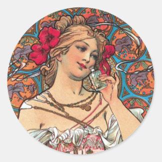 Arte Nouveau - Mucha - anuncio del perfume Pegatina Redonda