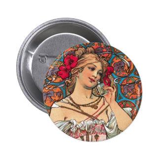 Arte Nouveau - Mucha - anuncio del perfume Pin Redondo De 2 Pulgadas