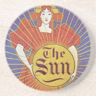 Arte Nouveau, mujer del vintage con Nueva York Sun Posavasos De Arenisca