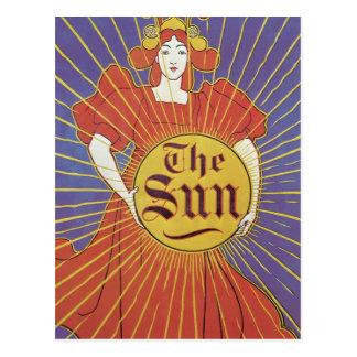 Arte Nouveau, mujer del vintage con Nueva York Sun Postal