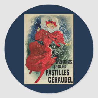 Arte Nouveau, mujer del vintage del Victorian en Pegatina Redonda