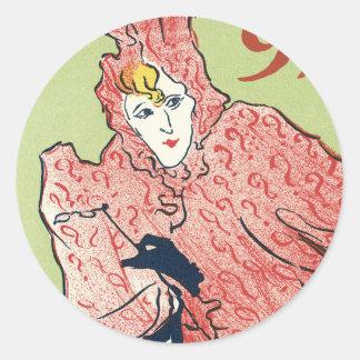Arte Nouveau P. Sescau Stickers Etiquetas Redondas