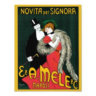 """Arte Nouveau, par del vintage de la moda de Italia Invitación 4.25"""" X 5.5"""""""