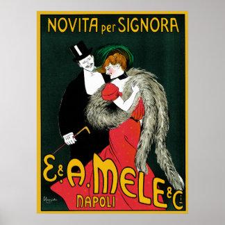 Arte Nouveau, par del vintage de la moda de Italia Póster