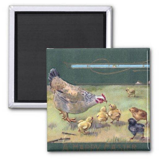 Arte Nouveau Pascua de la gallina y de los polluel Imán Cuadrado