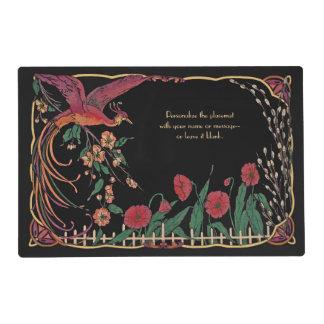 Arte Nouveau Placemat negro del vintage/del Salvamanteles