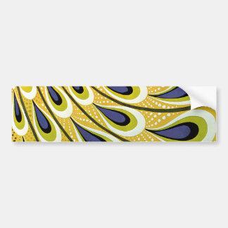 Arte Nouveau, pluma del vintage del pavo real de M Etiqueta De Parachoque