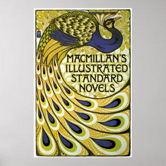 Arte Nouveau, pluma del vintage del pavo real de M Posters