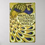 Arte Nouveau, pluma del vintage del pavo real de Posters