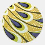 Arte Nouveau, pluma del vintage del pavo real de Pegatinas Redondas
