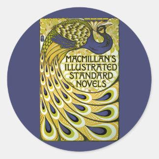 Arte Nouveau, pluma del vintage del pavo real de Pegatina Redonda