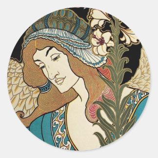 Arte Nouveau, publicaciones del vintage de Prangs Pegatina Redonda