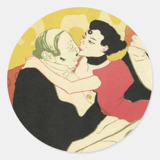 Arte Nouveau Reine de Joie Stickers Etiquetas Redondas