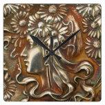Arte Nouveau Repousse de plata virginal Acryllic m Reloj De Pared