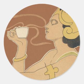 Arte Nouveau, señora Drinking Tea Cafe Rajah del Pegatina Redonda