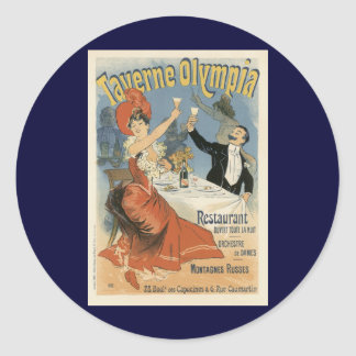 Arte Nouveau, Taverne Olympia, fiesta del vintage Pegatina Redonda